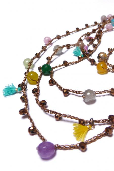 Long Boho Beaded Necklace with Gold Brass Crystals, Multicolor Gemstone Beads and Tiny Tassels, Crochet Rosary Necklace