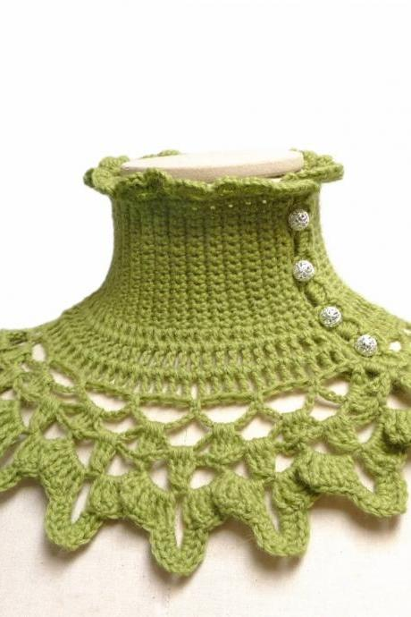 Victorian Wool Collar Neck Warmer, Crochet Green Boho Style Turtleneck Scarf, Romantic Gothic Neck Piece, Mom Sister and Best Friend Gift