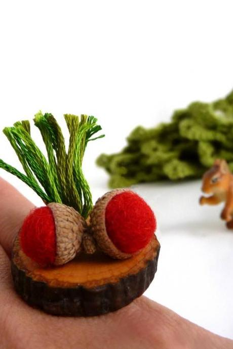 Adjustable Statement Wood Ring with Red Felt Acorn and Grass, Woodland Forest Jewelry, Nature and Wood Lover Gift, Funny Engagement Ring