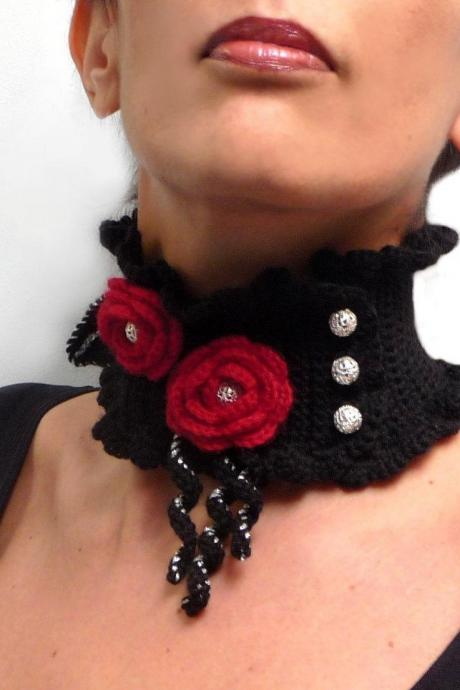 Crochet Black Neckwarmer with Red Flowers and Silver Beads - Lux Cowl Choker - JUSTINE