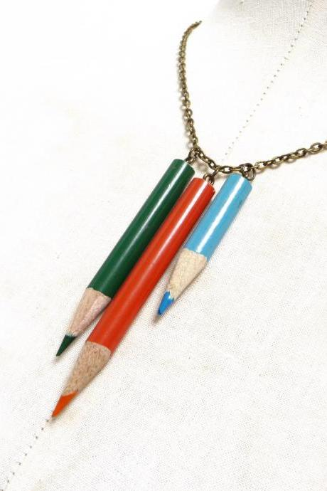 Teacher Gift Idea Color Pencil Necklace with Brass Chain - Green Orange Blue Crayons Charms - Back to School, Schoolmate, Upcycled Recycled