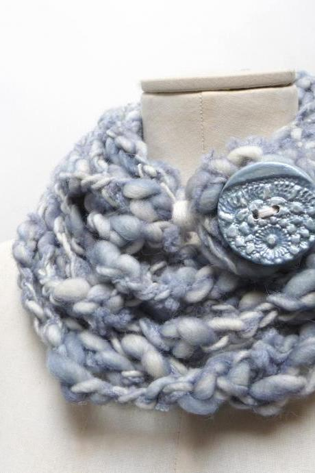 Loop Infinity Scarf Necklace, Knit and Crochet Scarflette Neckwarmer - light blue and cream white yarn with giant clay button, Hygge scarf
