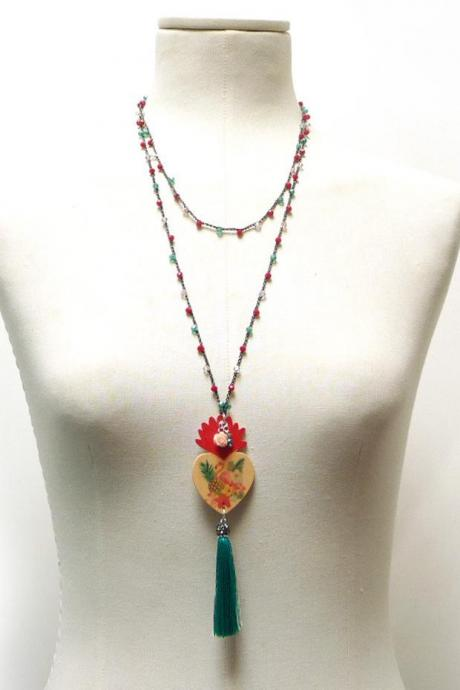 Flamingo Long Beaded Necklace with Red Pink and Green Crystals, Sacred Heart Pendant and Silk Tassel