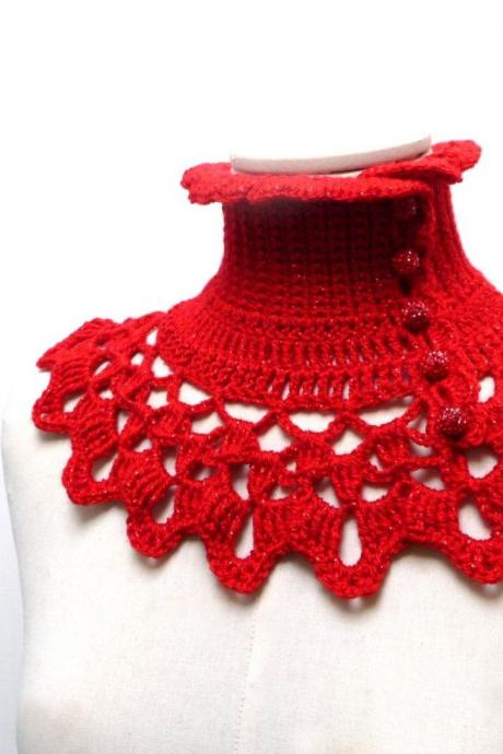 Red Collar Neck Warmer, Crochet Boho Victorian Style Turtleneck, Steampunk Gothic Neck Piece, Red Wool Yarn, Mom and Best Friend Gift