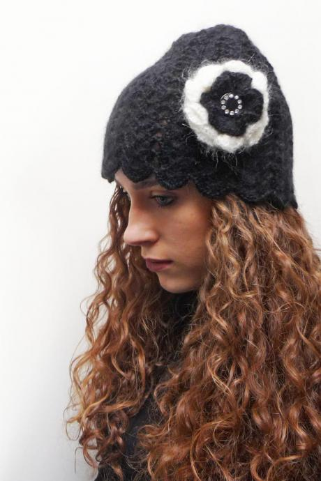 Black Crochet Cloche Hat with Flower - Mohair Crochet Beanie with giant flower brooch - CAMILLE