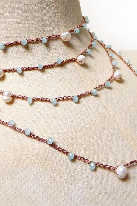 Long Beaded Necklace, Rose Gold Multi Wrap Bracelet with Fresh Pearls and Aquamarine Tiny Crystals, Rosary Necklace, Crochet Necklace