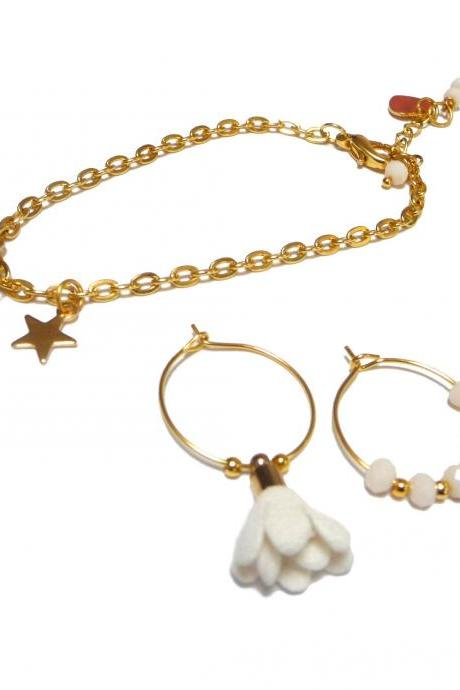 Gold and White Earrings and Bracelet Set - Mismatched Hoop Earrings with star and flower charms - Personalized gift for best friend