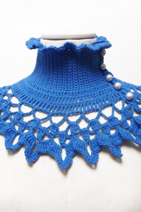 Blue Crochet Collar / Neckwarmer with turtleneck, ruffle neckline and lace collar - victorian, bohemian style - NINU'