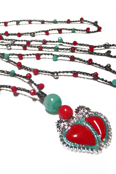 Sacred Heart Necklace with Aqua Green and Red Tiny Crystals, Milagro Heart Pendant, Long Beaded Boho Chic Crochet Necklace, Mexican style