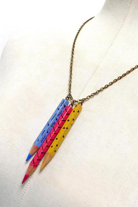 Color Pencil Necklace with Brass Chain - Light Blue, Pink, Yellow Crayons Charms - Upcycled, Recycled, Back to School, Teacher, Schoolmate