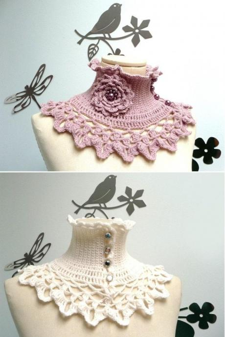 Victorian Crochet Collar / Custom Color Wool Scarf Neckwarmer with turtleneck, ruffle neckline and lace collar - NINU'
