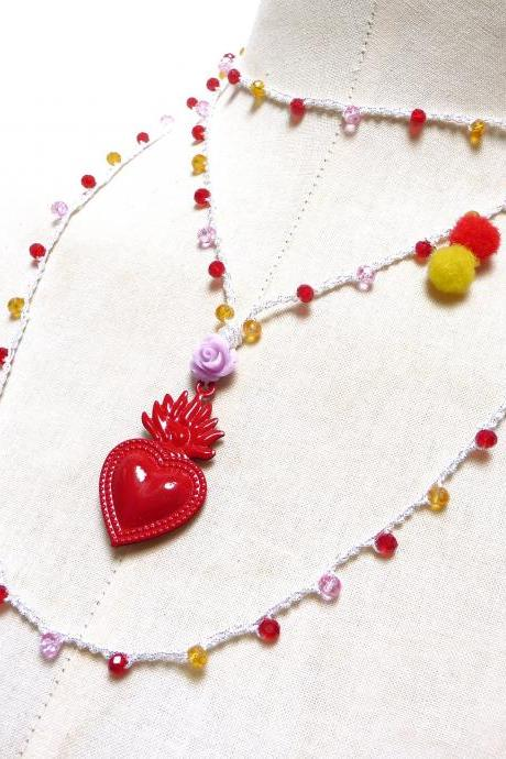 Red Sacred Heart Milagro Necklace - Long Beaded Crochet Rosary Chain with red pink yellow crystals and exvoto pendant, Mexican Boho Chic