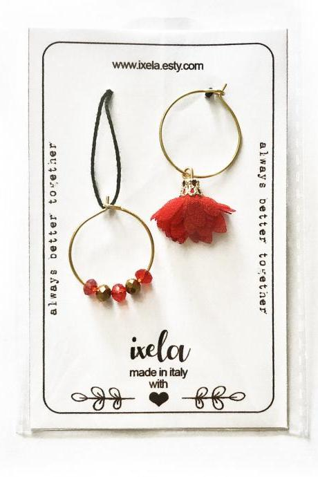Personalized Earrings Best Friend Gift - Gold Hoop Earrings with mismatched charms red or pink