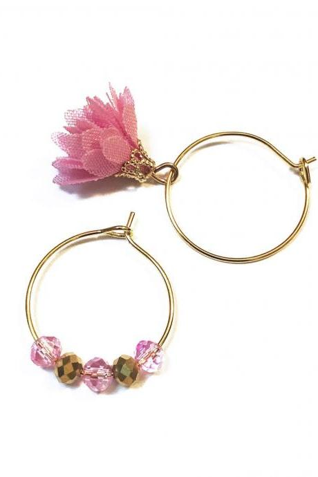 Gold Hoop Earrings with Pink mismatched charms - Personalized gift with custom message for your best friend