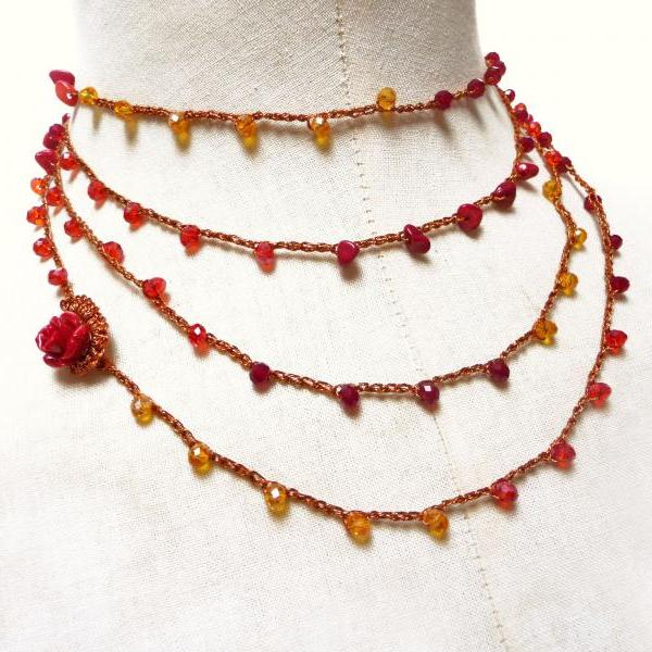 Long Beaded Wrap Necklace with Red Yellow Orange Crystals and Red Coral Chips, Rosary Crochet Necklace, Boho Style Multi Wrap Bracelet