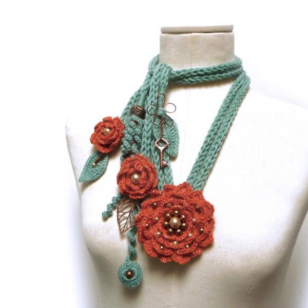 Crochet Necklace with Flowers, Leaves and Glass Pearls - Rusty Orange and Sage Green - Made to Order Crochet Scarf Neckwarmer - PEONY