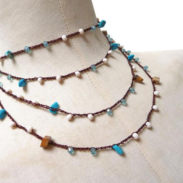 Long Beaded Necklace, Boho Style Multi Wrap Bracelet with Turquoise and Brown Gemstone Chips and Crystals, Rosary Necklace, Crochet Necklace